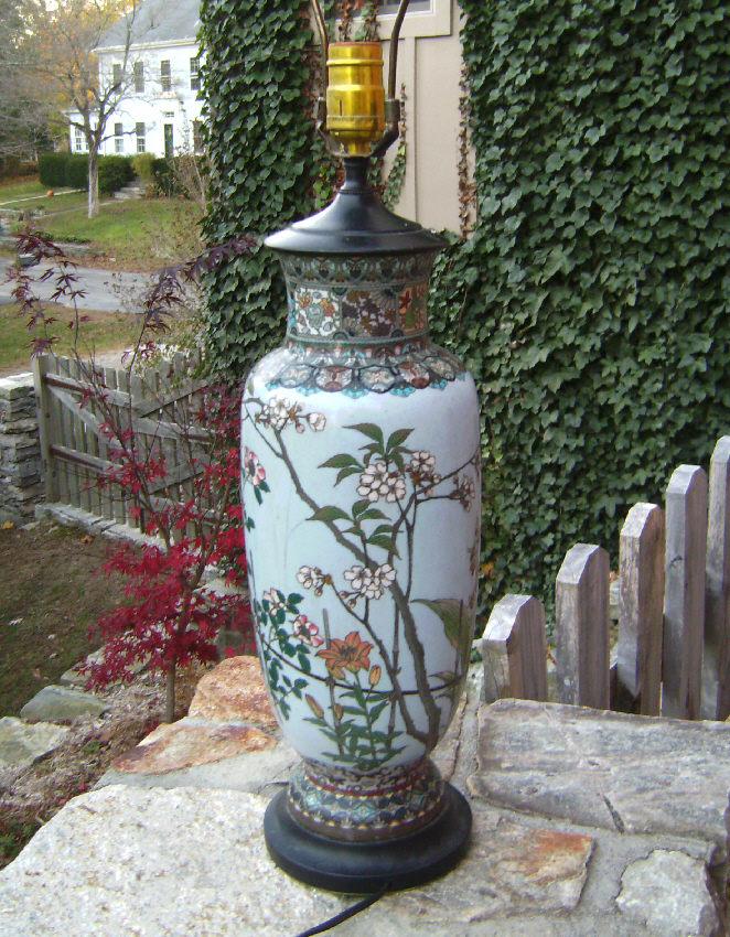 Cloisonne vase lamp  with floral leaf design electrified c1880
