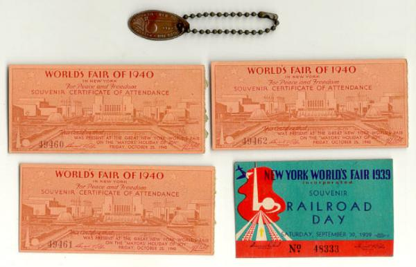 Vintage 1939 and 1940 Worlds Fair tickets