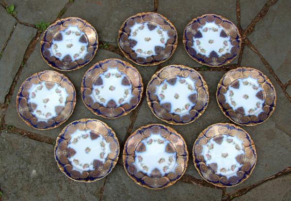 Jean Pouyat French Porcelain Limoges plates in Persian Motif