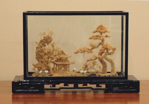 Carved Chinese cork Daoist Paradise diorama