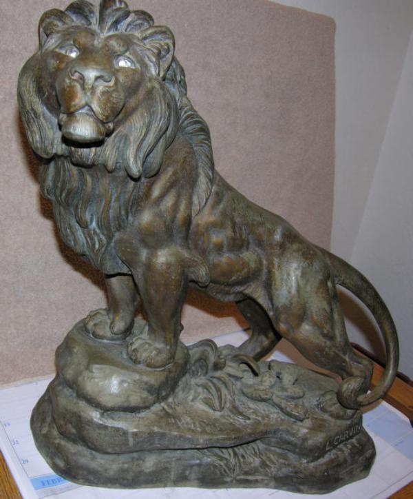 L Carvin French bronze lion sculpture