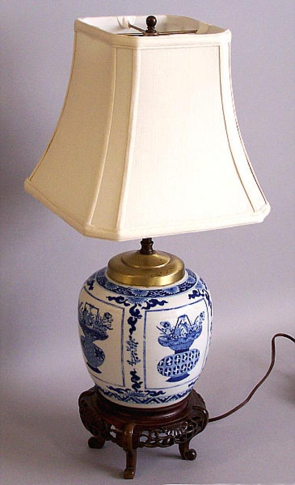 my item value of chinese export ginger jar lamp blue and white c1780. Black Bedroom Furniture Sets. Home Design Ideas