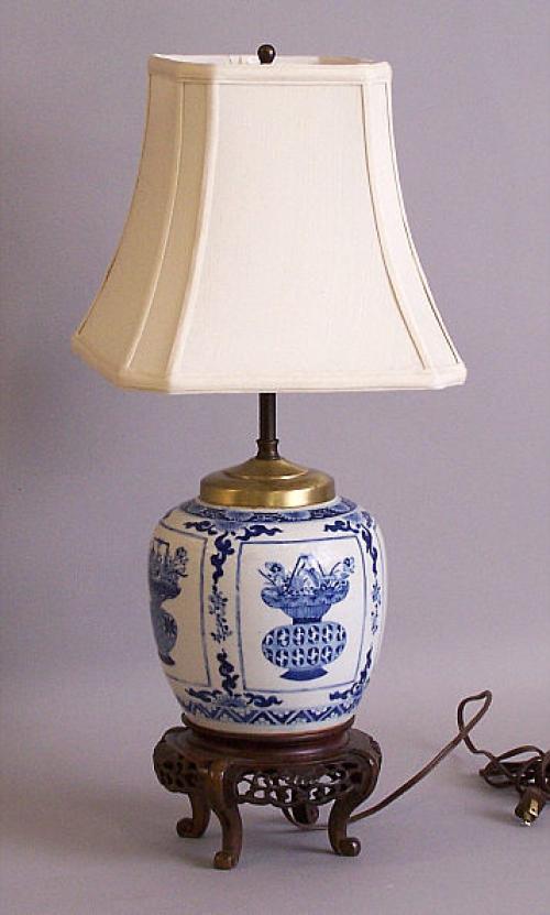chinese export ginger jar lamp blue and white c1780. Black Bedroom Furniture Sets. Home Design Ideas