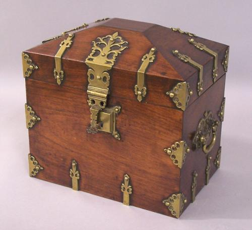Classic Vintage French 55 Square Two Tier Brass Glass: French Wood And Brass Tantalus Decanter Box C1840 To 1860