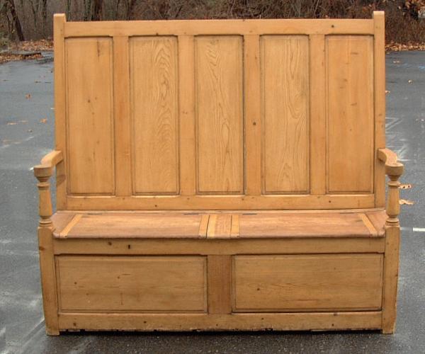 19th century English pine lift top deacons bench