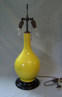 Vintage Chinese imperial yellow porcelain vase lamp