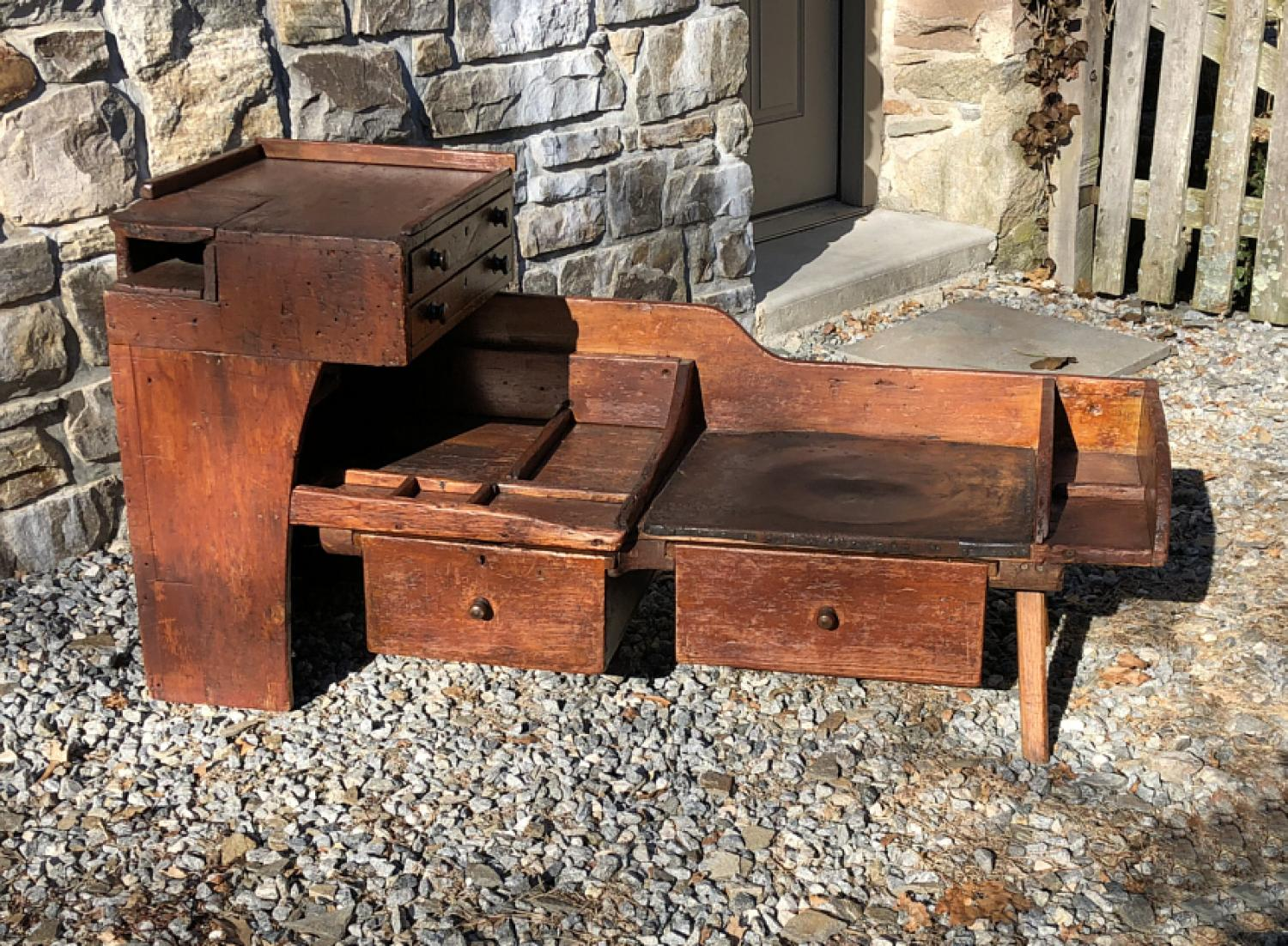 Early pine cobblers bench  c1800