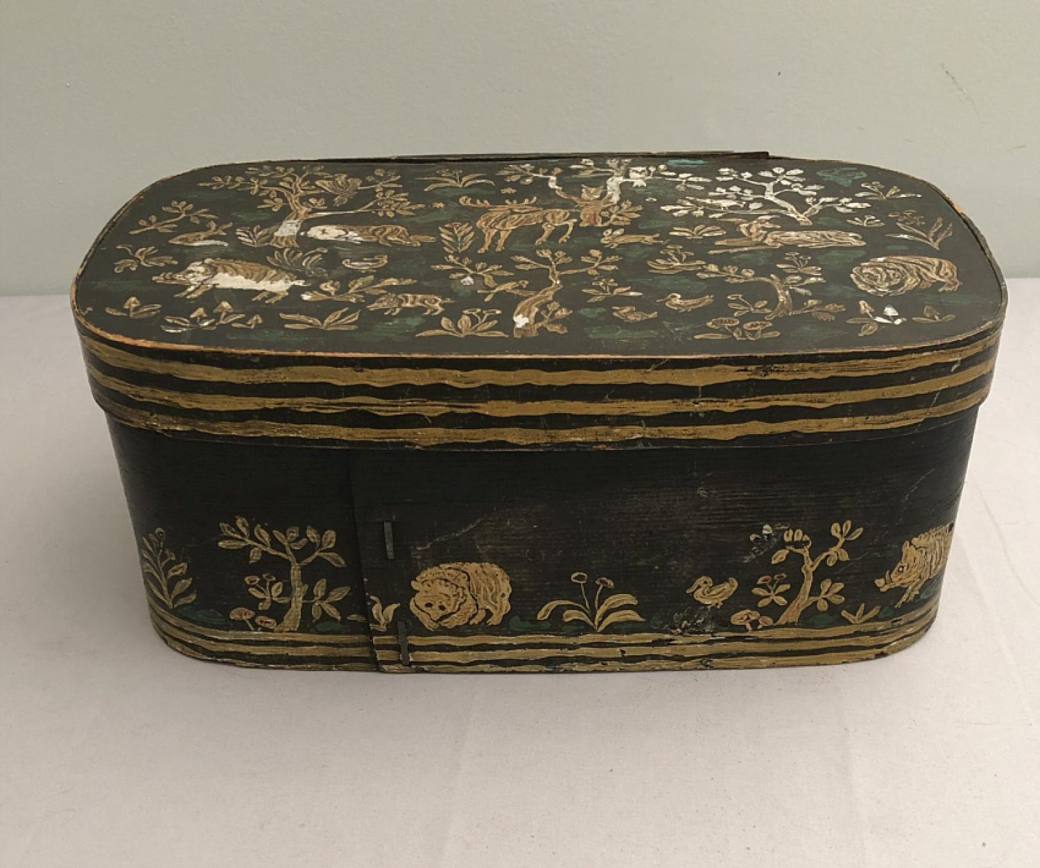 Antique brides box with hand painted animals c1900