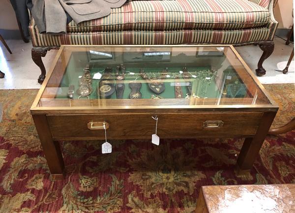 Vintage English Mahogany Vitrine Coffee Table With Drawer