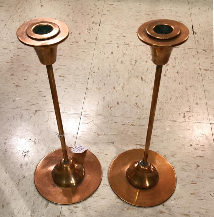Mid century modern copper candlesticks