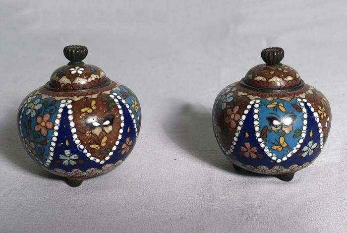Antique cloisonne pair of covered jars c1875