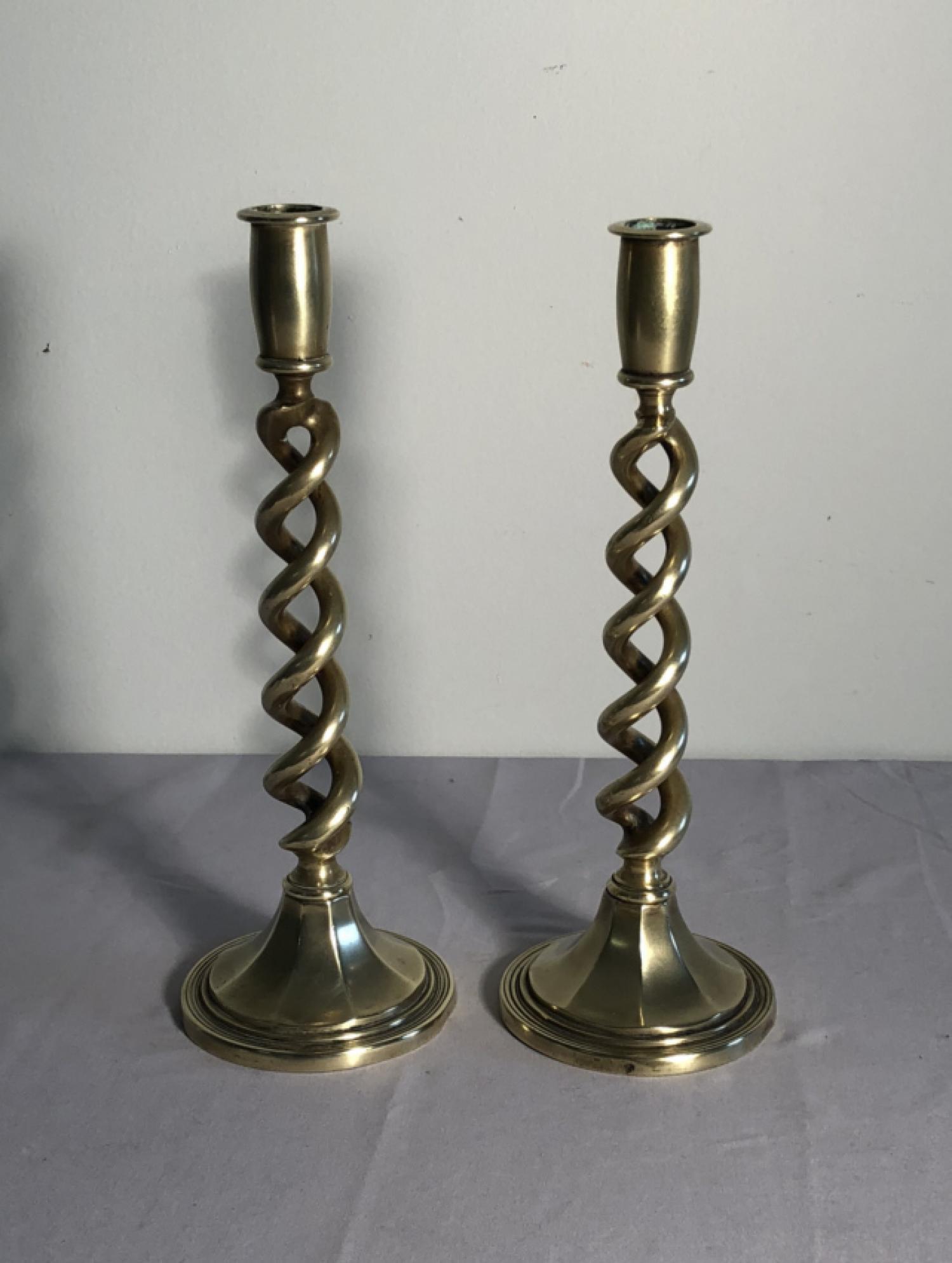Antique English open twist brass candlesticks c1840-60