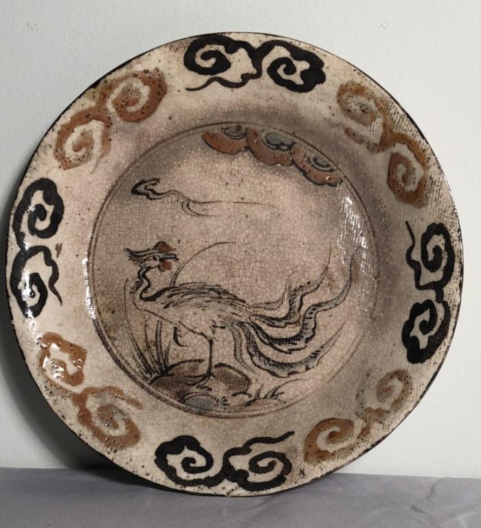 Japanese 18thc Oribe ware pottery dish by Kozan