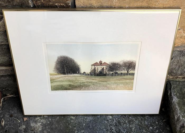 P Bisson Romneys Marsh landscape lithograph 58 of 250