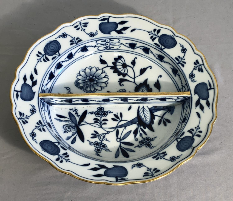 Meissen Blue Onion porcelain divided serving dish
