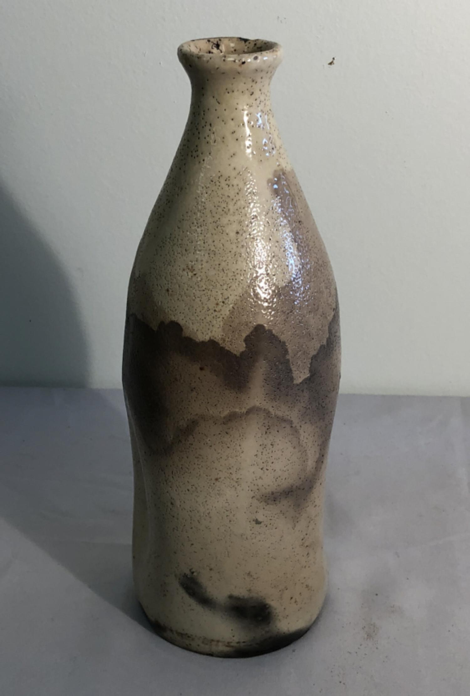 19th c Japanese sake bottle with calligraphy