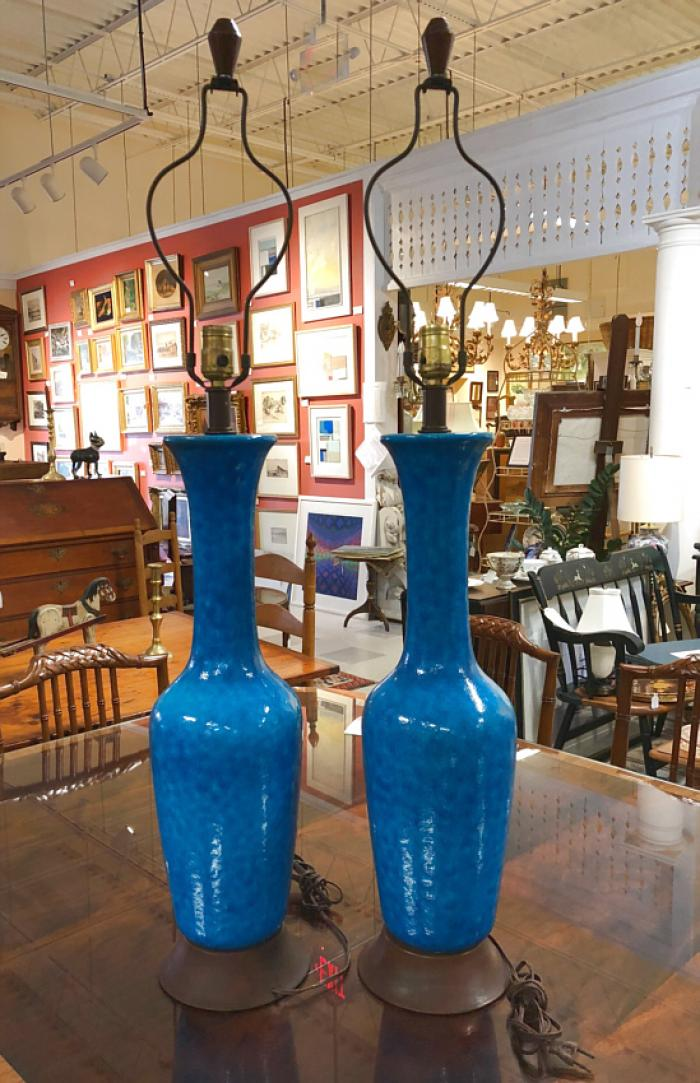Mid century modern turquoise table lamps c1960