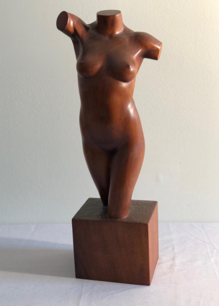 Norman Legassie Sculpture nude female torso wood carving 1991
