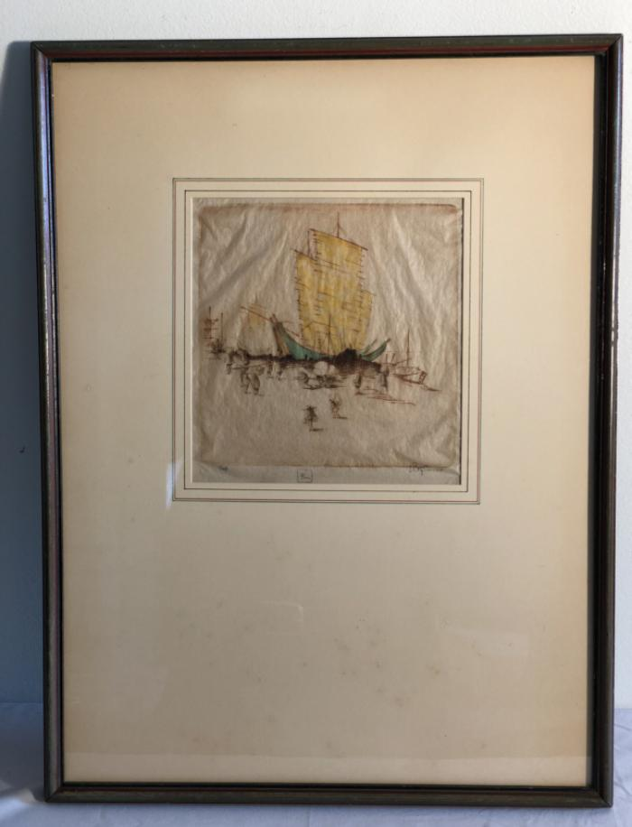 D P Tyson original signed etching Junks and Coolies