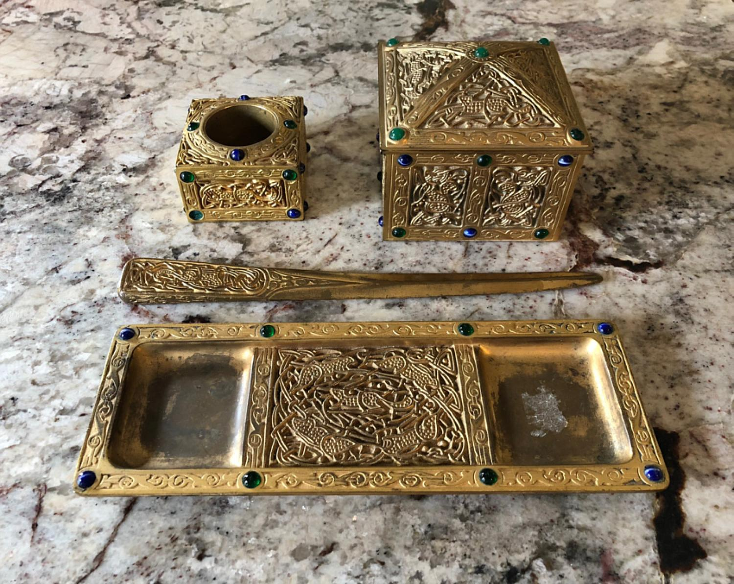Antique Tiffany Studios bronze desk set with stones
