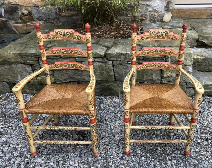 Pair of Sicilian hand painted chairs c1850