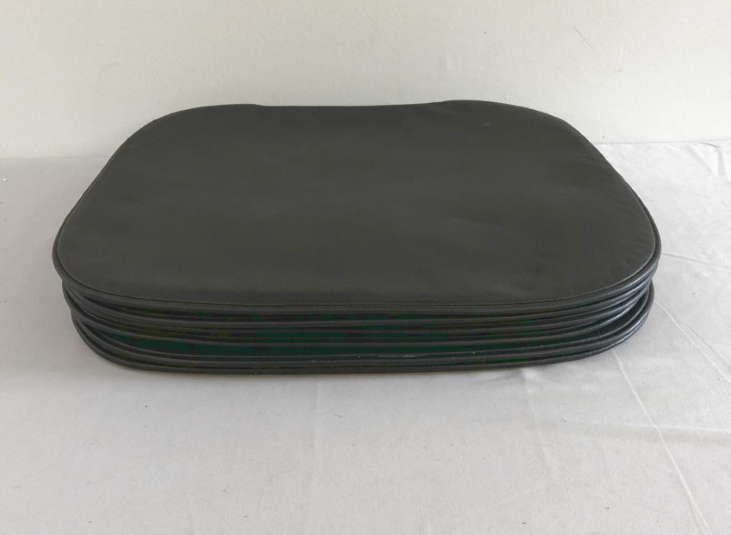 Black leather seat cushions for Hans Wegner Wishbone chairs