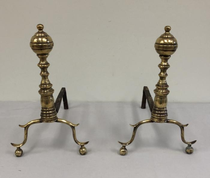Early American brass fireplace andirons c1820