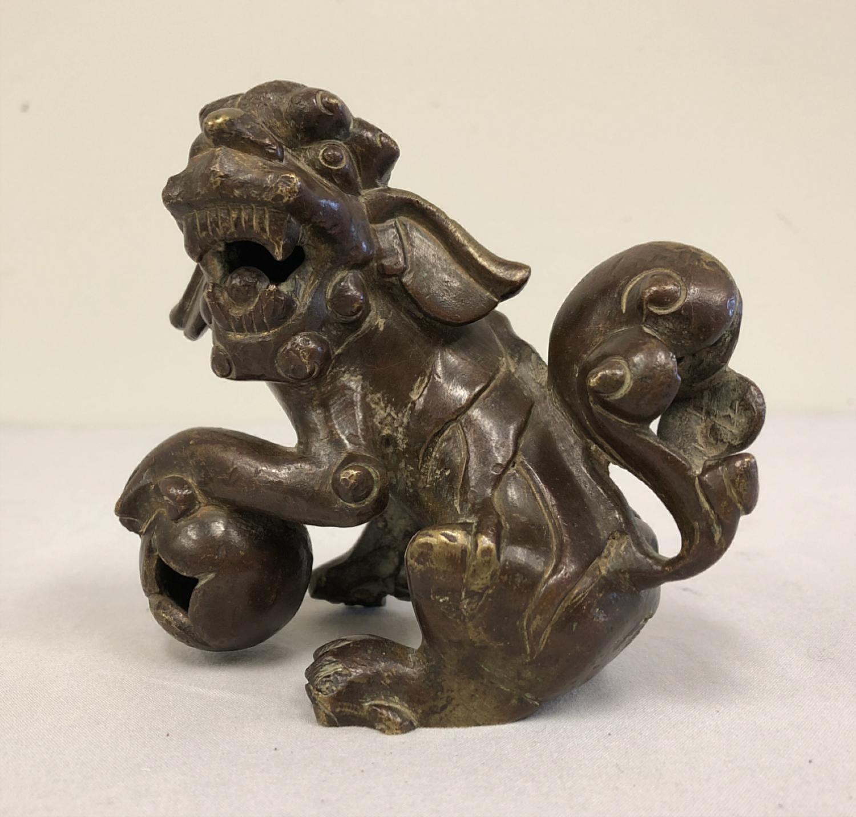 Qing Dynasty bronze foo dog