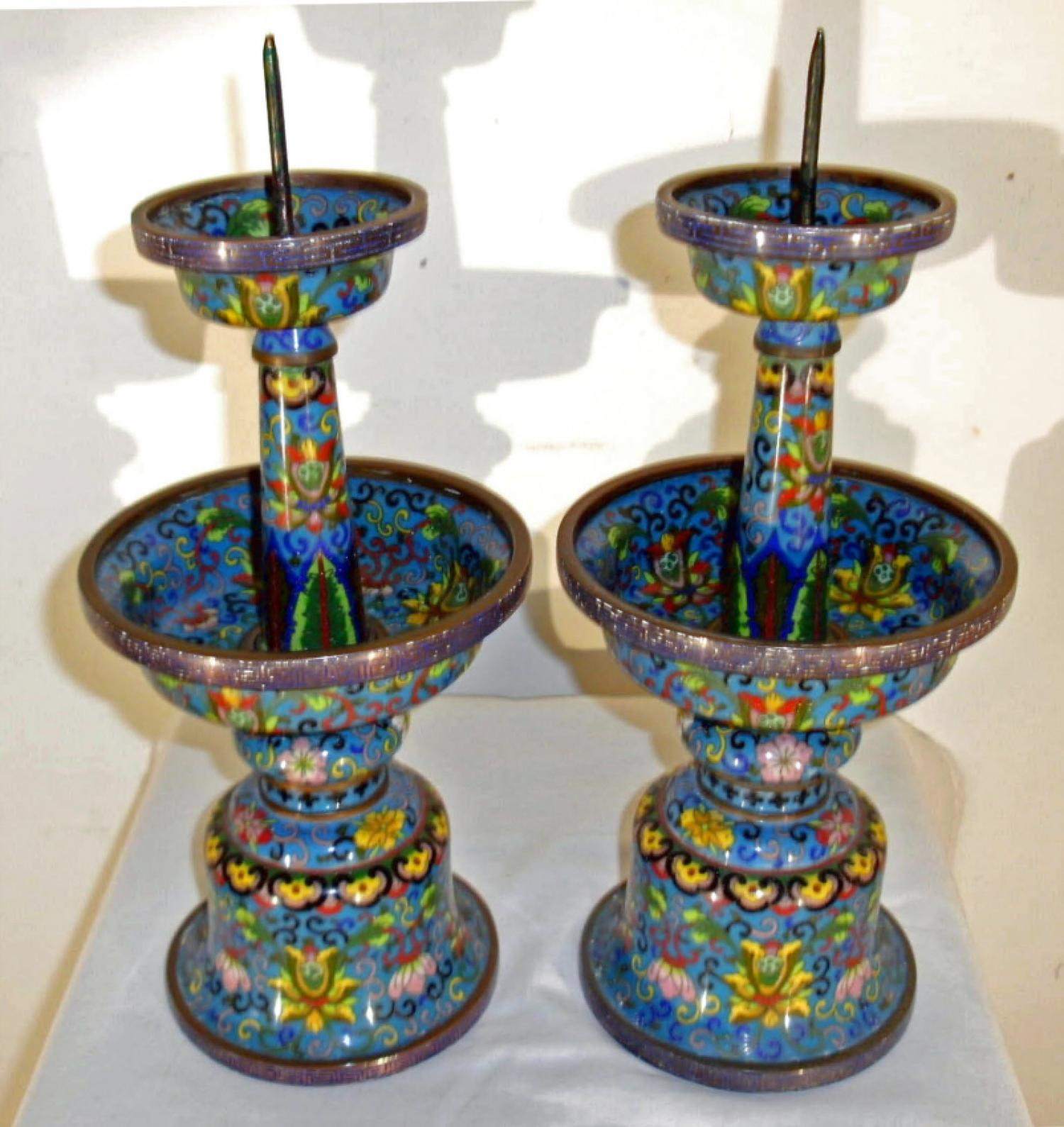 Chinese cloisonne enamel candle holders c1800