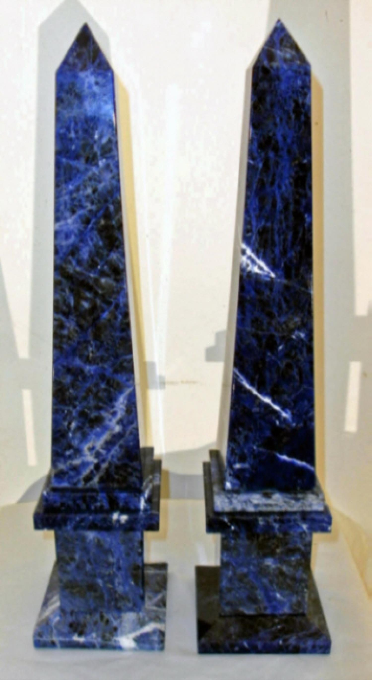 Antique blue lapis obelisks in the Grand Tour style