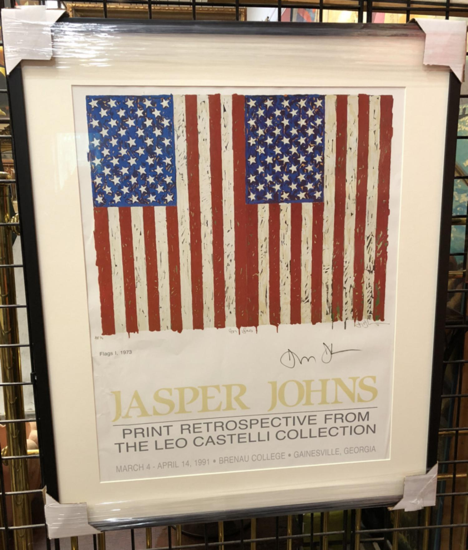 Jasper Johns signed poster Flags 1 1973