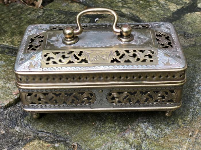Indian brass and silver cricket box