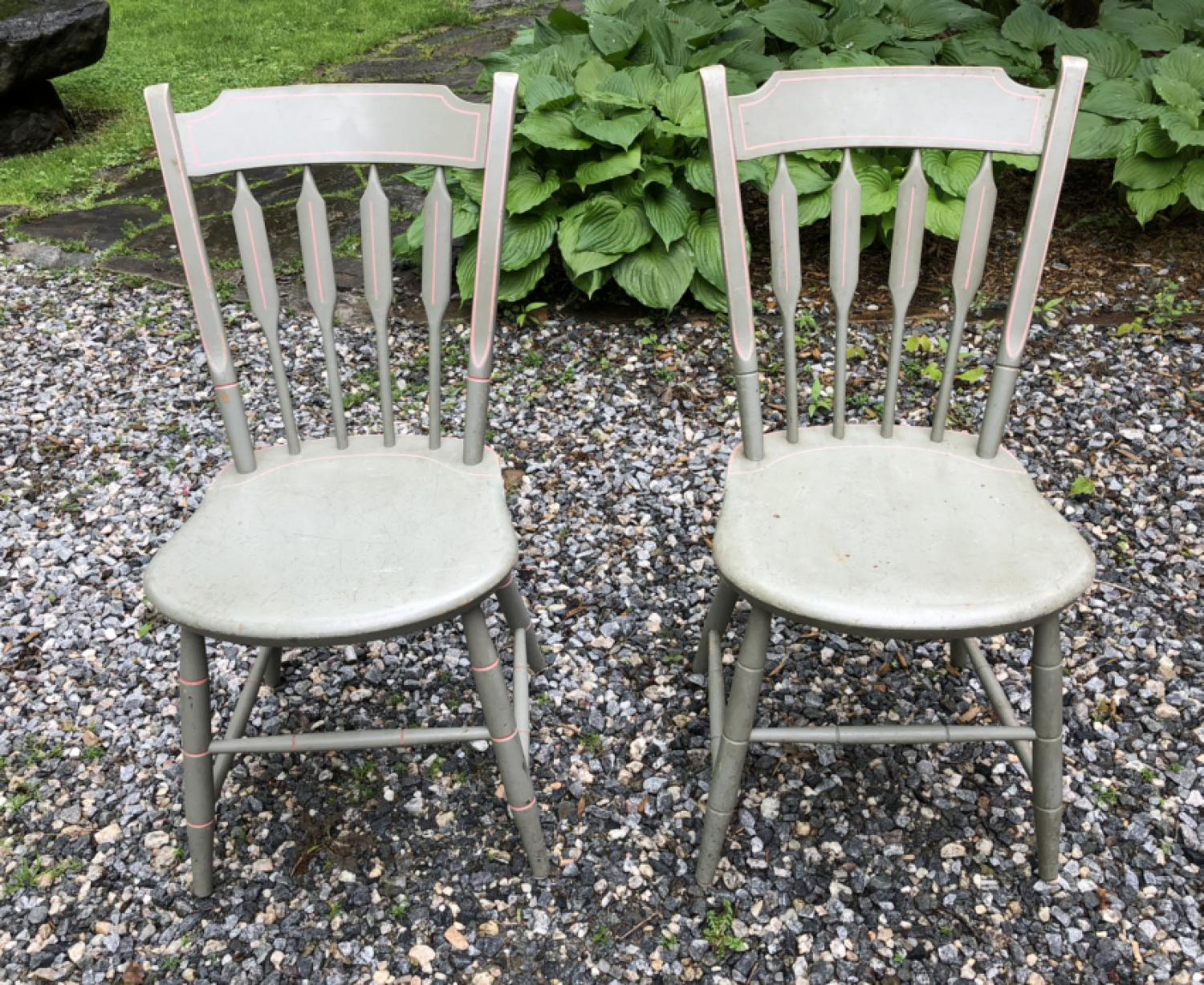 Pair of painted country Sheraton style chairs c1900