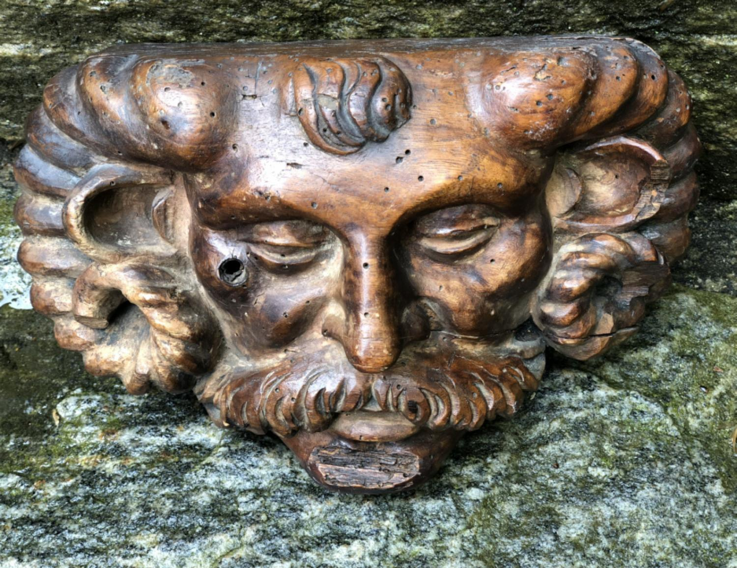 Baroque Renaissance satyrs mask wood carving c1690e