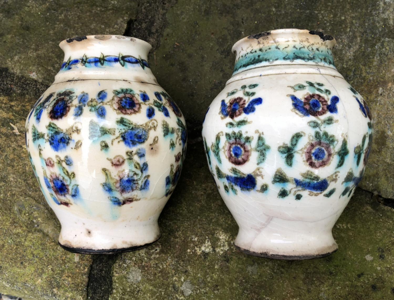 Pair of Persian Yazd  honey pots