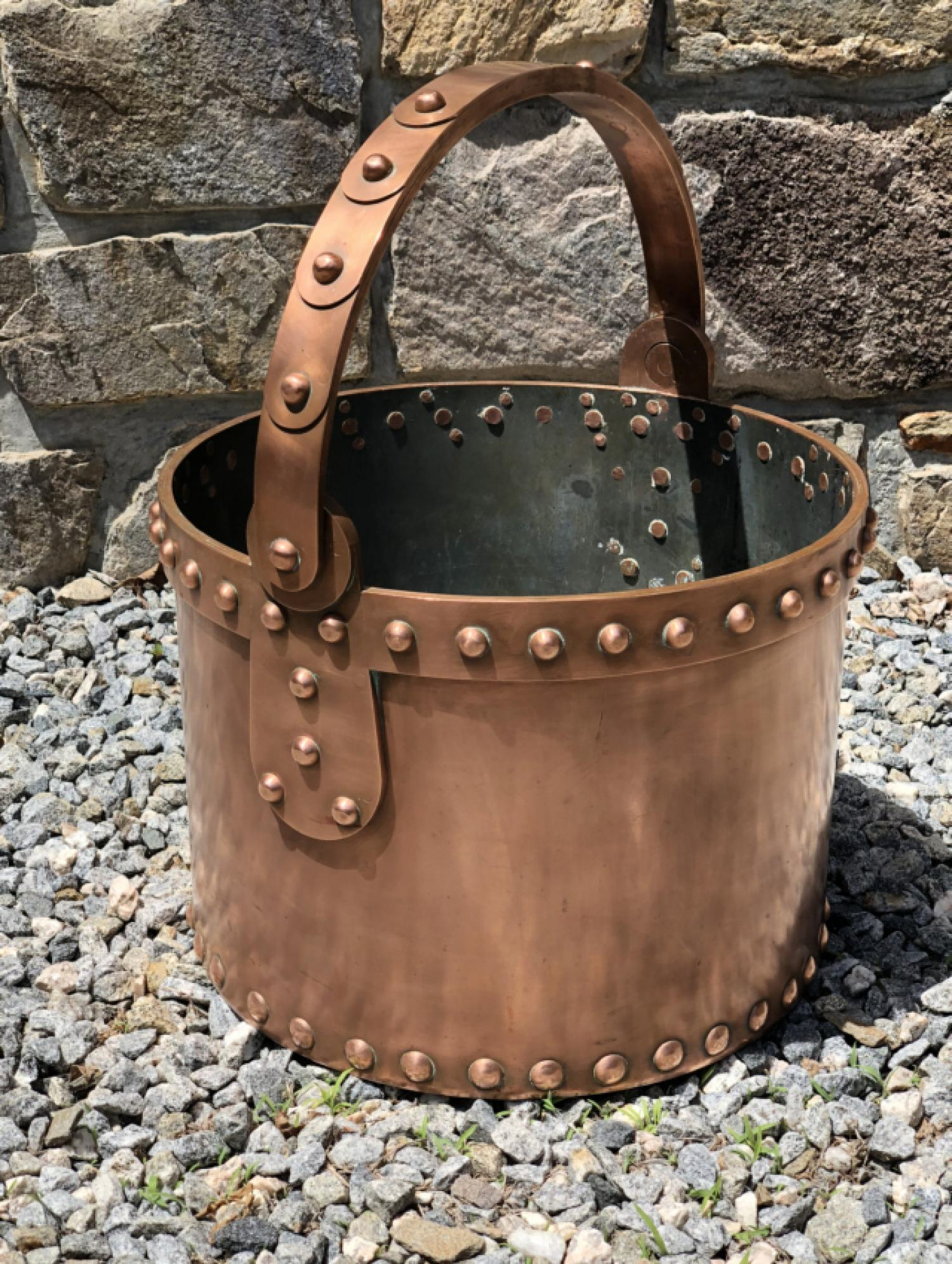 Steam punk industrial copper bucket