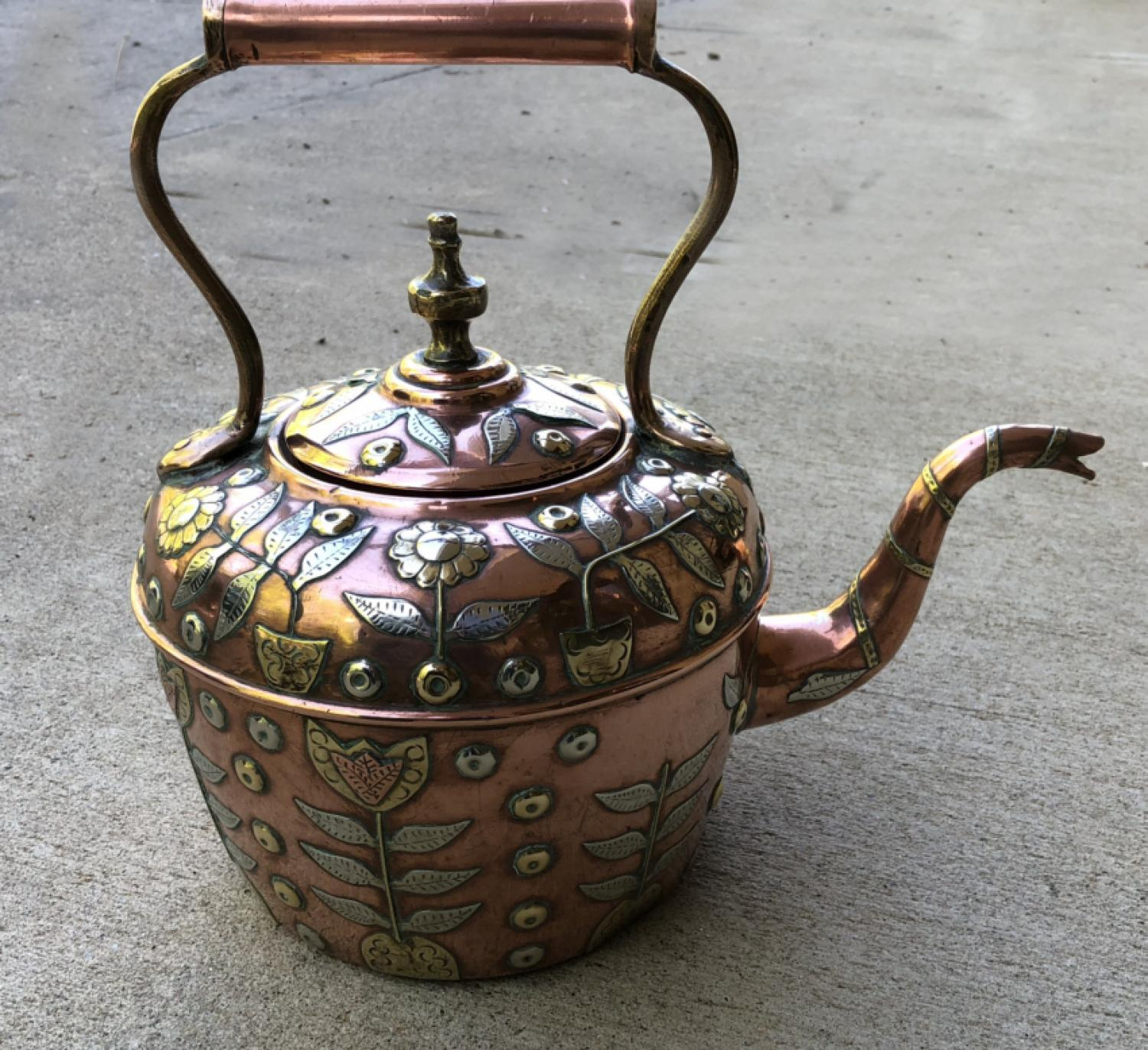 Antique Moroccan copper and silver teapot