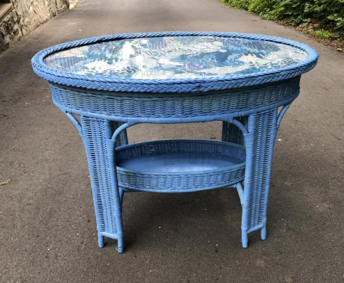Antique wicker table c1880