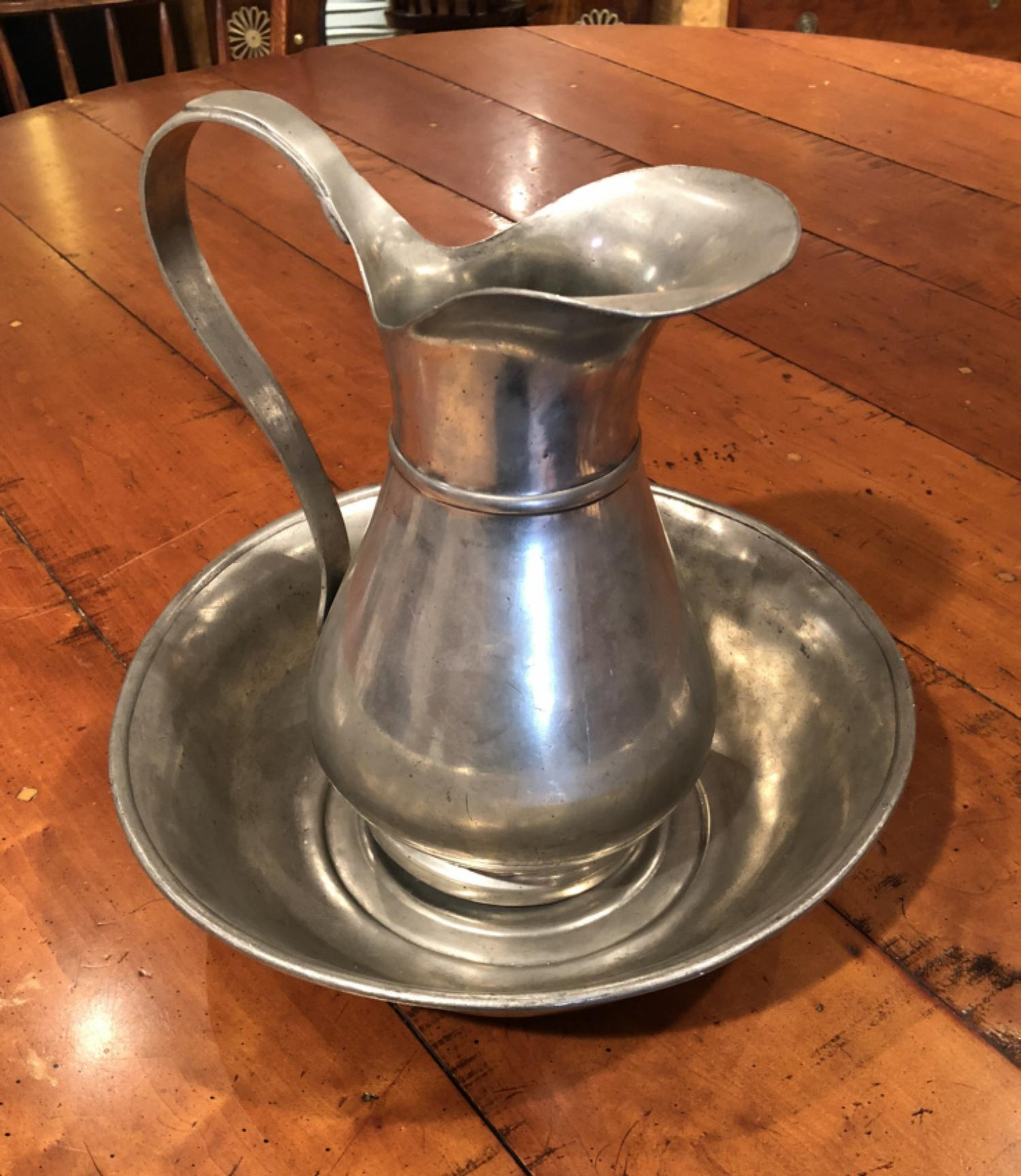 European 19th c pewter pitcher and bowl