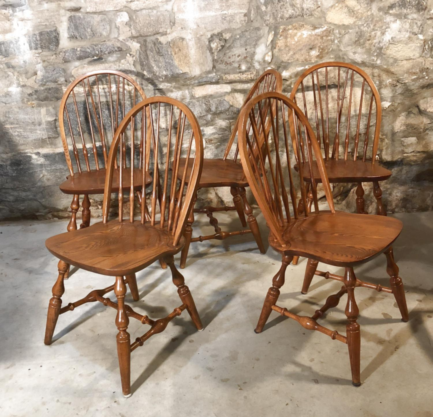 Nichols and Stone brace back oak Windsor chairs