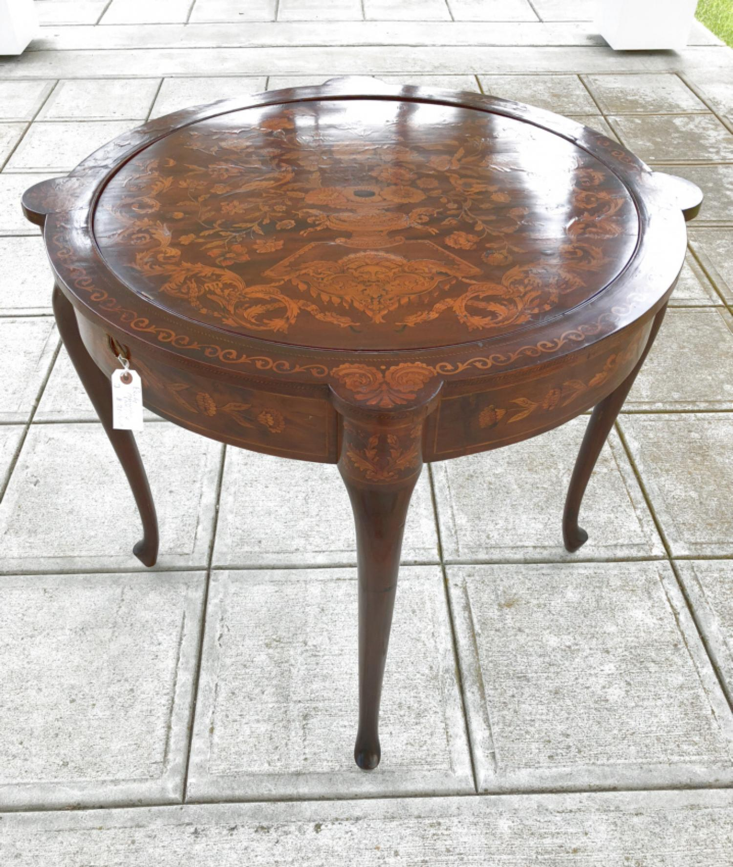 Antique Continental inlaid game card table c1880