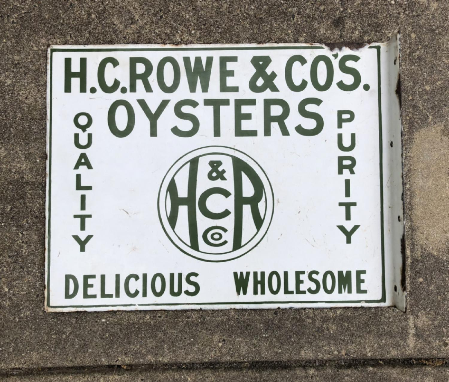 Vintage Connecticut enamel oyster sign c1920