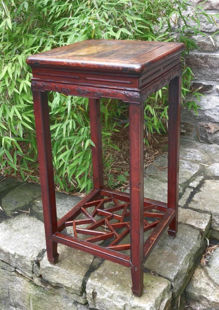 Antique Chinese Ming style tall stand in original red wash