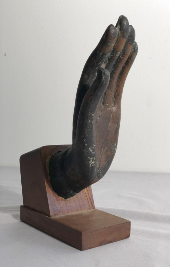 14th c Thai bronze hand of Buddha
