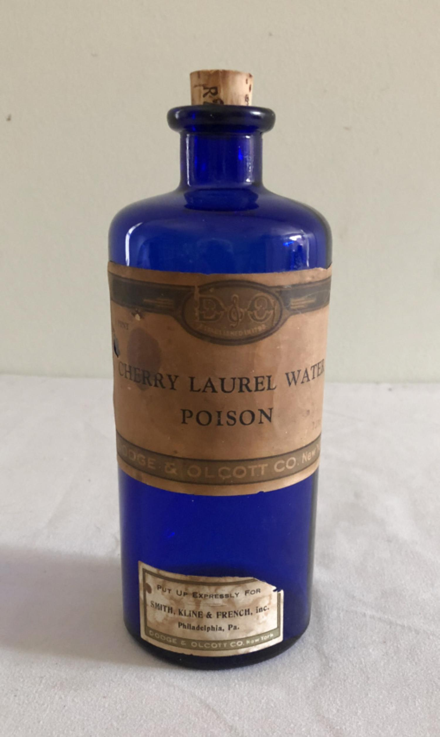 Cobalt glass Cherry Laurel Water poison bottle