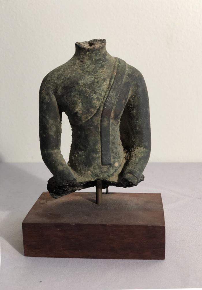 Thai bronze torso of Buddha 1335 to 1550