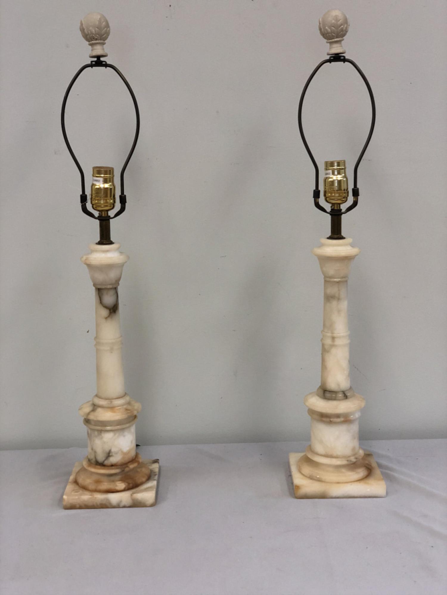 White marble column lamps c1920