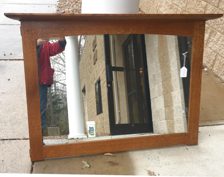 Stickley Craftsman oak over mantle mirror