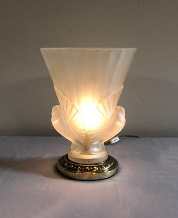 Image of Art Deco frosted glass uplight lamp