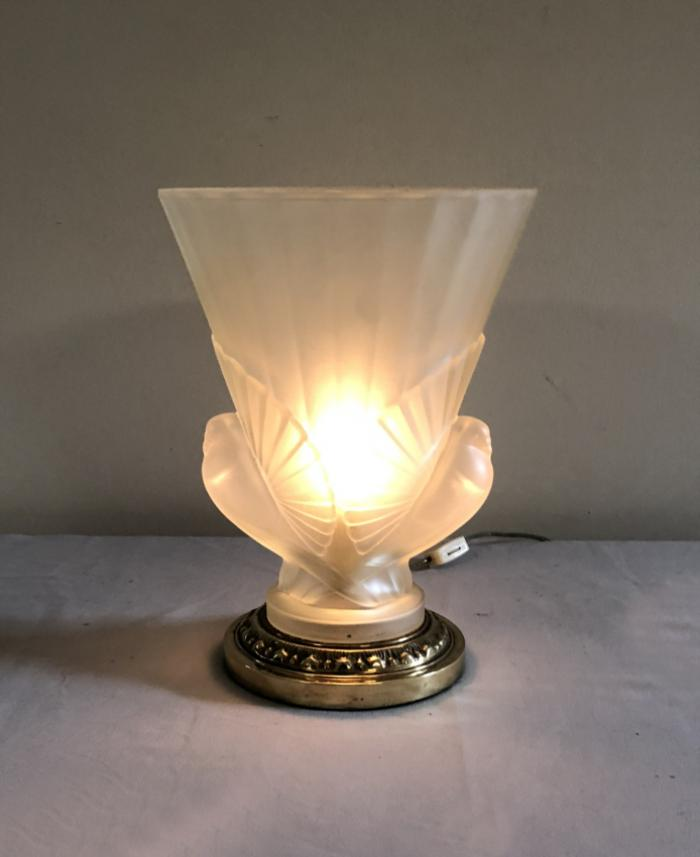 Art Deco frosted glass uplight lamp